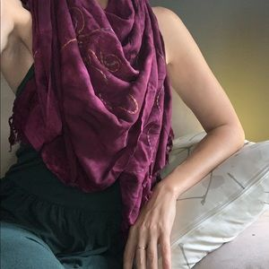 Accessories - Large Purple Tie Dye Scarf with Embroidered Flower